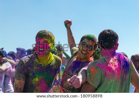 Norwalk, California, USA - March 8:Holi Festival of Colors. People dancing and celebrating during the color throw. 2014 - stock photo