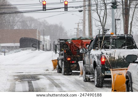 NORWALK,CT - JANUARY 27:  Cars on North Taylor Ave after winter storm in Norwalk on January 27, 2015 - stock photo