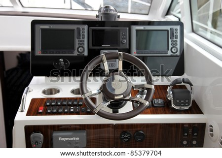 NORWALK, CT - SEPTEMBER 24: Boat interior with navigation panel detail at Boat show 2011 September 24, 2011 in Norwalk, CT.