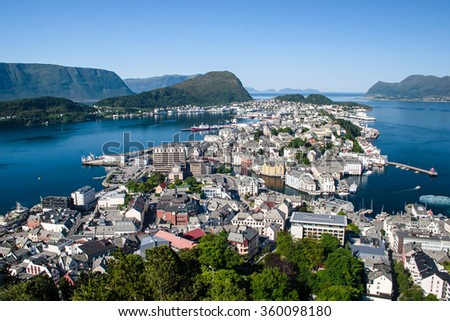 Norway a view of the city of Stavanger from an observation deck. Summer, sunny day, clear clear sky - stock photo