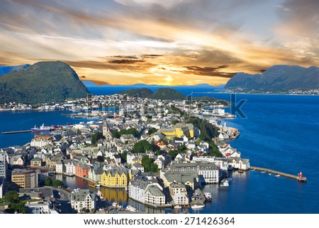 Norway, Alesund town panoramic view, Norwegian fjords. - stock photo