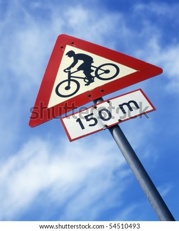 Norway, Bicycle warning or caution road sign