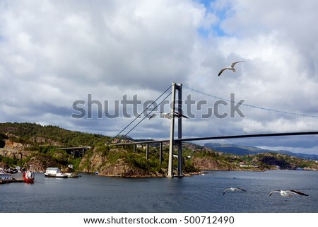 Norway. Bridge between the Islands of Stavanger. Majestic city cable-stayed bridge, connecting the city with the Islands.