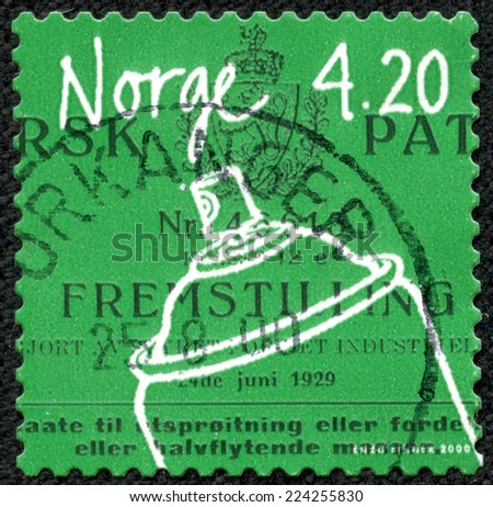 NORWAY - CIRCA 2000: A 4.20k stamp printed in Norway shows image of an aerosol container, from the inventions series, circa 2000 - stock photo
