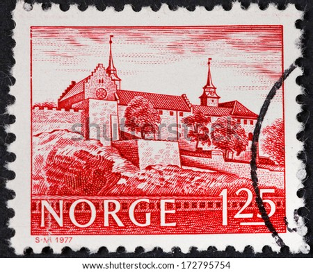 NORWAY - CIRCA 1977: A postage stamp printed in the Norway shows Akershus Fortress in Oslo, circa 1977 - stock photo