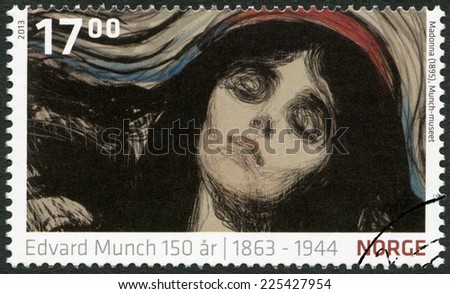 NORWAY - CIRCA 2013: A stamp printed in Norway shows Detail from Madonna by Edvard Munch (1895, The Munch Museum), circa 2013  - stock photo