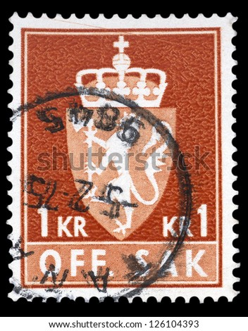 "NORWAY - CIRCA 1962: A stamp printed in Norway, shows Norway Coat of Arms, without inscriptions, from the series ""Coat of Arms"", circa 1962"