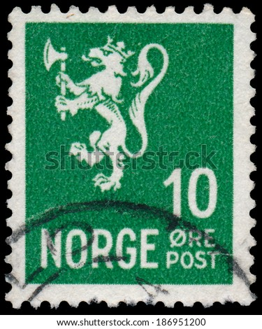 "NORWAY - CIRCA 1926: A stamp printed in Norway, shows Norway Coat of Arms, without inscriptions, from the series ""Coat of Arms"", circa 1926"