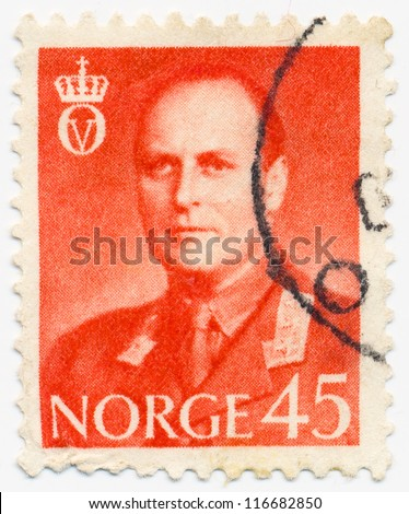 NORWAY - CIRCA 1958: A stamp printed in Norway, shows portrait of King Olav V (1903-1991), circa 1958