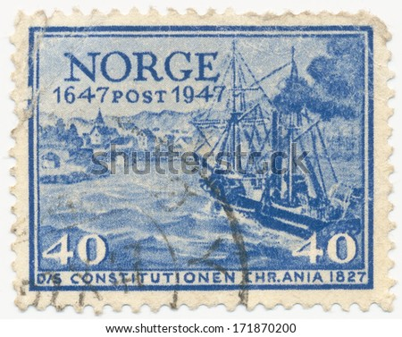 NORWAY - CIRCA  1947: A stamp printed in Norway shows Post ship Constitution, circa 1947
