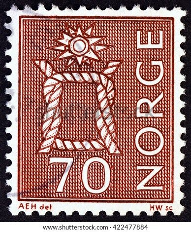 NORWAY - CIRCA 1970: A stamp printed in Norway shows Reef Knot, circa 1970. - stock photo