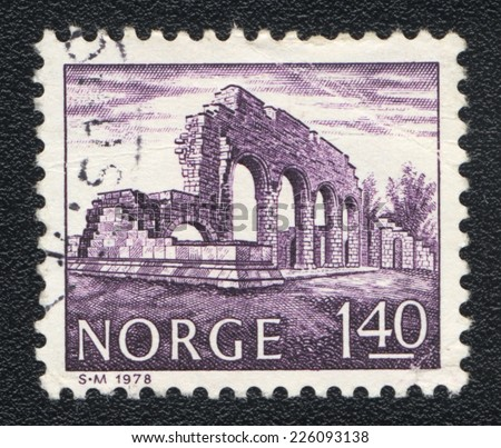 NORWAY - CIRCA 1978: A stamp printed in Norway shows Ruins of an ancient building with arches, circa 1978 - stock photo
