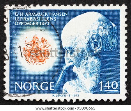 NORWAY - CIRCA 1973: a stamp printed in the Norway shows Dr. Armauer G. Hansen and Microscopic View of Leprosy Bacillus, circa 1973