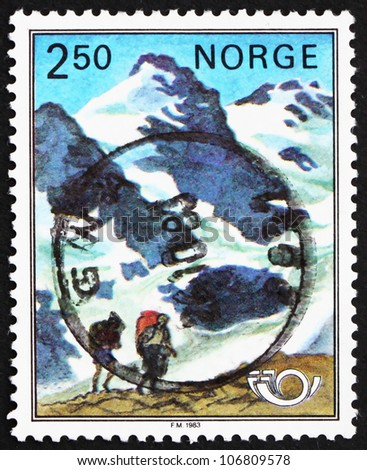 NORWAY - CIRCA 1983: a stamp printed in the Norway shows Mountaineers and Mountains, Nordic Cooperation Issue, circa 1983 - stock photo