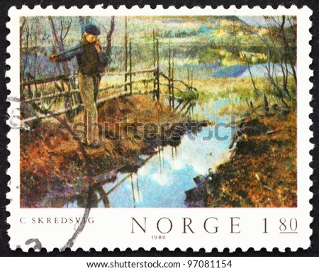 NORWAY - CIRCA 1980: A stamp printed in the Norway shows Self-portrait, painting by Christian Skredsvig, circa 1980 - stock photo