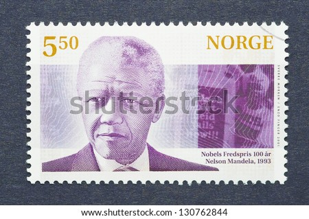NORWAY � CIRCA 2001: postage stamp printed in Norway showing an image of Nobel Peace prize winner Nelson Mandela, circa  2001. - stock photo