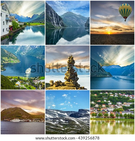 Norway, collage. Natural landscapes, fjords - stock photo