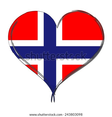 Norway 3D heart shaped flag - stock photo