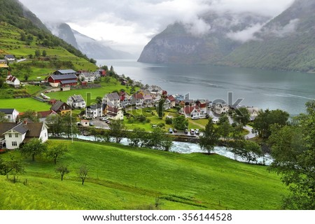 Norway fiord landscape - Aurlandsfjord, part of Sognefjord. Town of Undredal. - stock photo