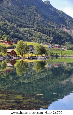 Norway fiord landscape - part of Hardanger Fjord called Sorfjord. Morning view.