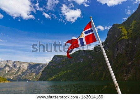 Norway flag and Sognefjord - nature and travel background - stock photo