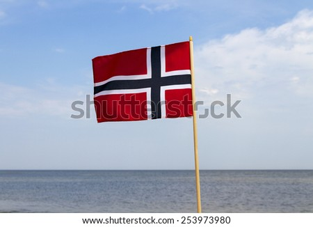 Norway flag at the sea. - stock photo