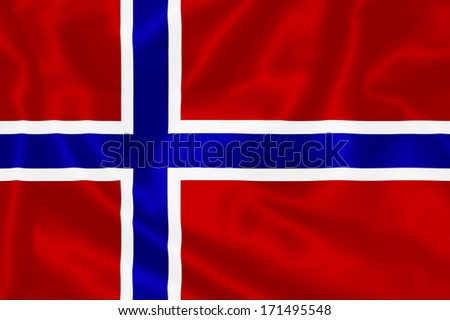 Norway Flag flying in the wind.