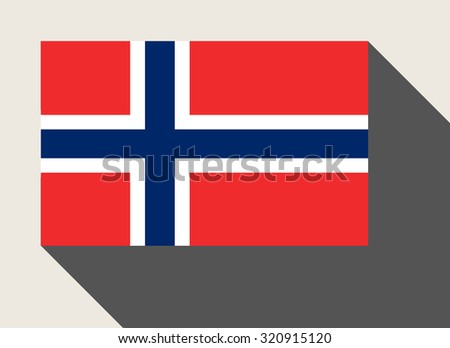 Norway flag in flat web design style. - stock photo