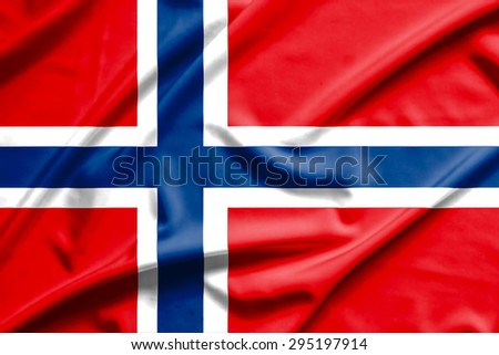 norway flag on soft and smooth silk texture