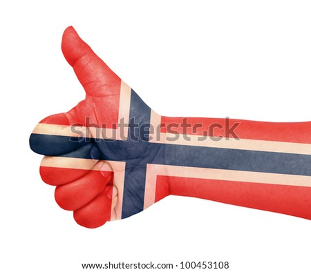 Norway flag on thumb up gesture like icon - stock photo