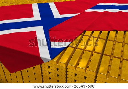 Norway gold reserve stock: golden bars (ingots) are covered with norwegian flag in the storage (treasury) as symbol of national gold and foreign currency reserves, financial health, economic growth - stock photo