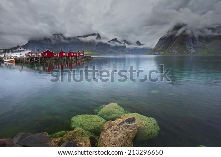 Norway. Image of Lofoten Islands, Norway during stormy weather. - stock photo