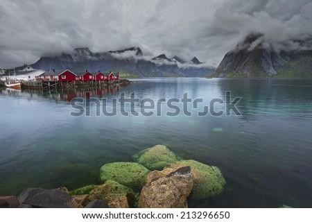 Norway. Image of Lofoten Islands, Norway during stormy weather. - stock photo