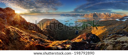 Norway Landscape panorama with ocean and mountain - Lofoten - stock photo