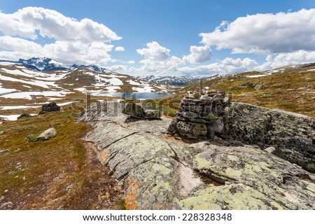 Norway landscape with fjords and deep blue sky. - stock photo