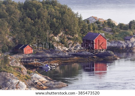 Norway landscape with its typical fishing huts  - stock photo