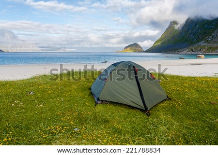 Norway landscape with tent and fjords. - stock photo
