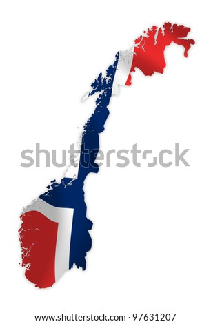 Norway map on a waving flag