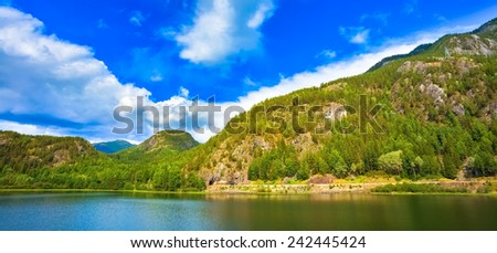 Norway Nature Fjord, Summer View. Sunny Day, Landscape With Mountain, Pure Water Lake, Pond, Sea - stock photo