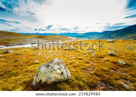 Norway Nature Landscape, Norwegian Mountains Under Sunny Blue Sky - stock photo