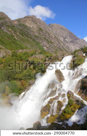 Norway nature - waterfall landscape. Jostedalsbreen National Park - Briksdalen Valley. - stock photo