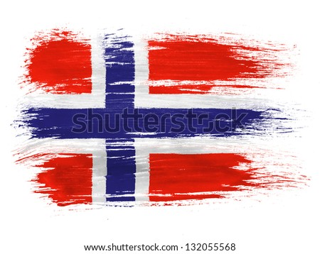Norway. Norwegian flag on white background - stock photo