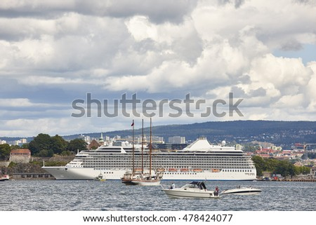 Norway. Oslo harbor with boats and cruise. Travel tourism background. Horizontal
