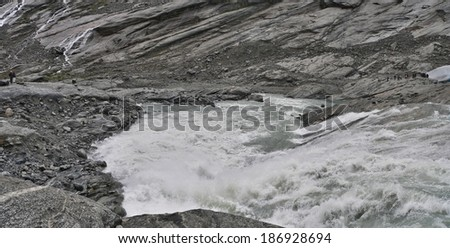 Norway-panoramic views of the water from the glacier Nigardsbreen