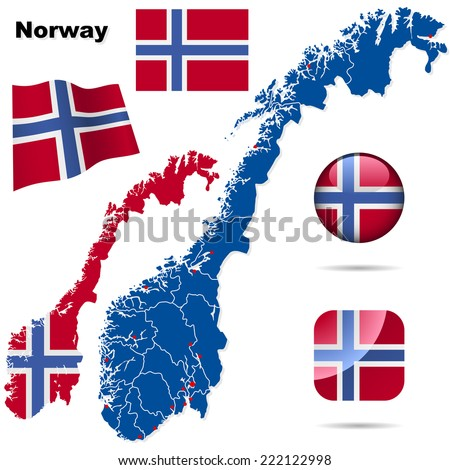 Norway set. Detailed country shape with region borders, flags and icons isolated on white background. - stock photo