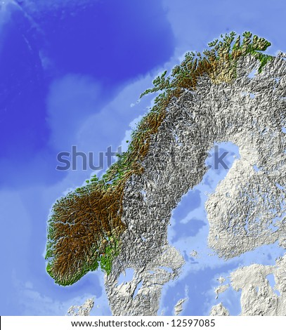 Sweden Shaded Relief Map Major Urban Stock Illustration - Sweden relief map