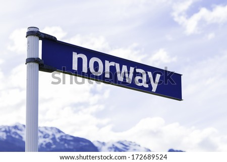 Norway sign with mountains and clouds as the background - stock photo