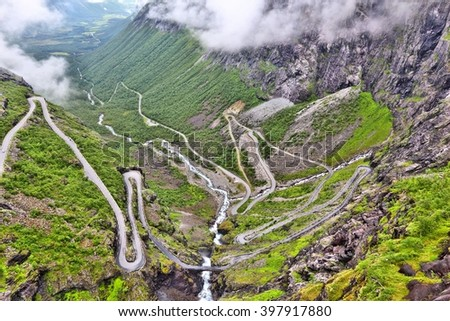 Norway Troll Road - mountain route of Trollstigen. More og Romsdal region. - stock photo