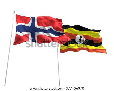 Norway & Uganda Flags are waving on the isolated white background - stock photo