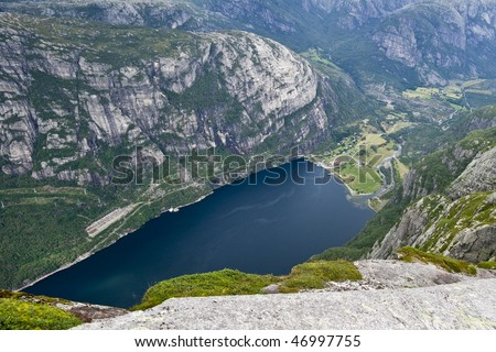 Norway. View of Lysefjord and Lysebotn from mountain. - stock photo